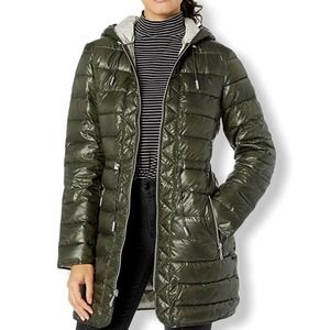 Kenneth Cole NY Olive Green Hooded Puffer Coat XS